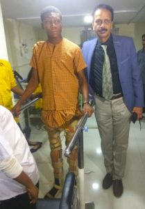 Cell based therapy help 19 year old boy from Ghana walk