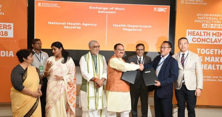 Shri J P Nadda, Union Minister of Health and Family Welfare exchanged the Memorandum of Understanding with the State Health Ministers